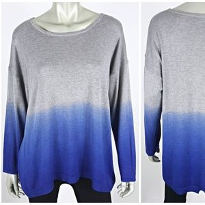 Gray Blue Ombre Lightweight Sweater Plus Size 3X